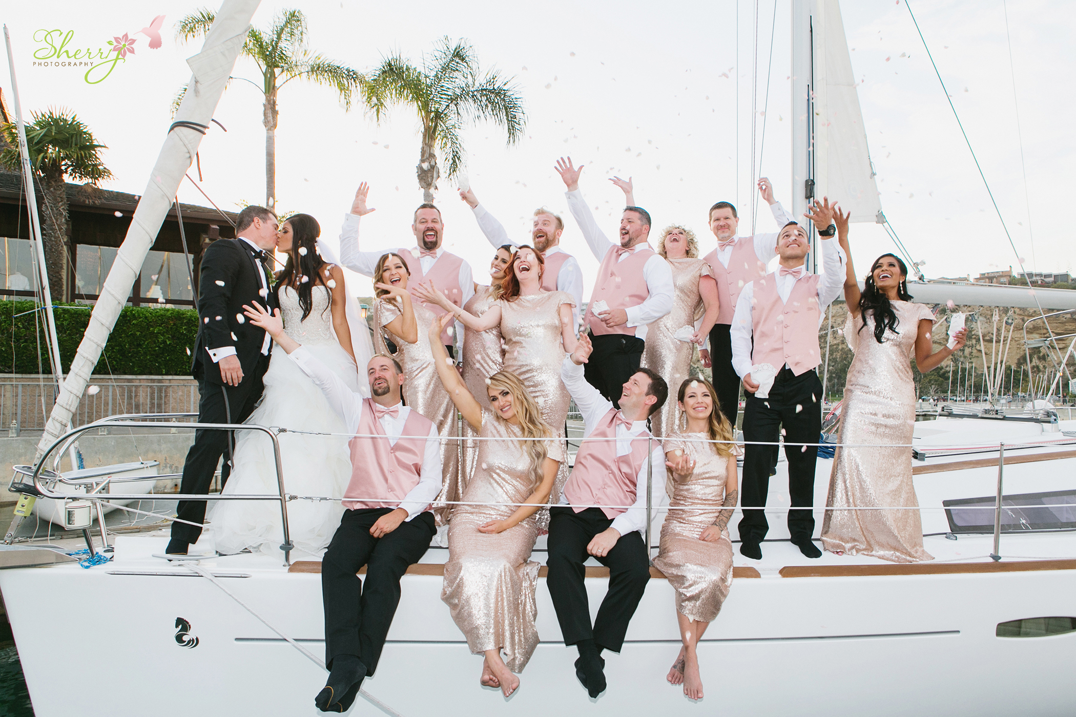 Dana Point Yacht Club Wedding Sailboat Bridal Party